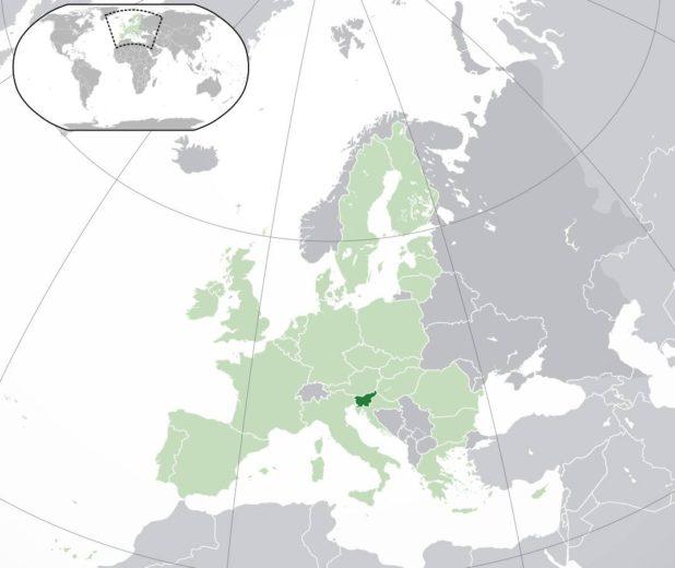 Slovénie sur une carte de l'Europe