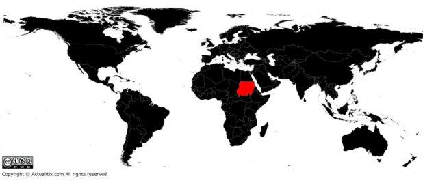 Soudan sur une carte du monde