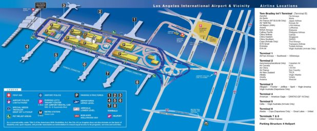 Carte de l'aéroport de Los Angeles
