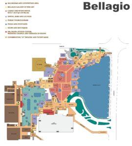 Carte du Bellagio hôtel à Las Vegas