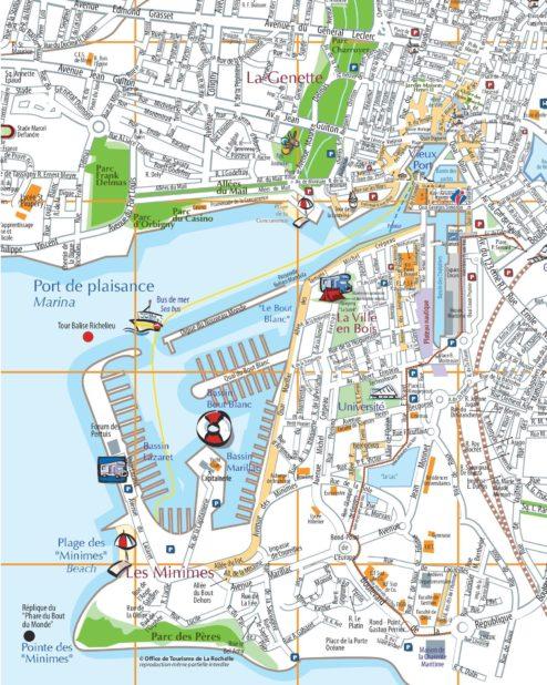 Carte centre ville de La Rochelle