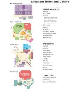 Carte de l'Excalibur hôtel à Las Vegas