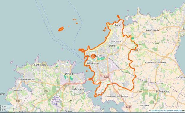 Carte des limites de Saint-Malo
