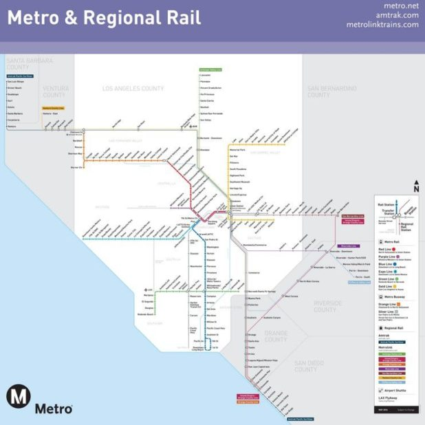 Carte du métro de Los Angeles