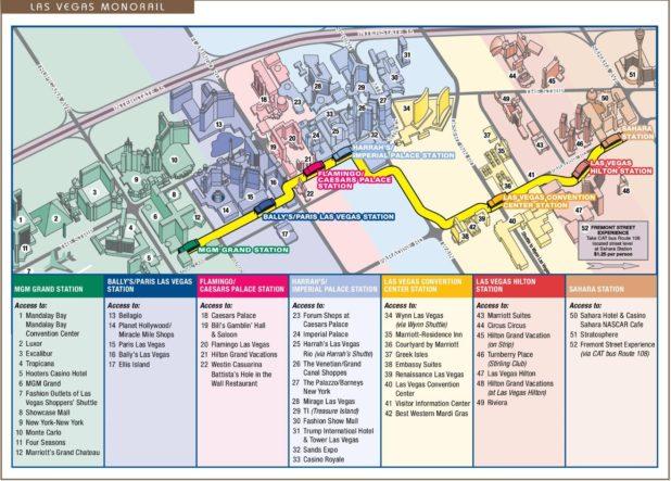 Carte du monorail à Las Vegas