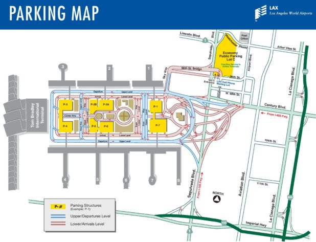 Carte des parkings de l'aéroport de Los Angeles