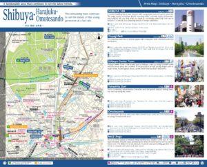 Carte du quartier Shibuya Harajuku Omotesando à Tokyo