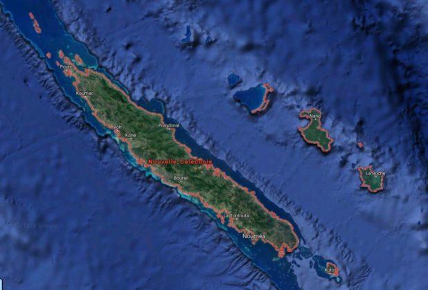 Carte satellite de la Nouvelle-Calédonie