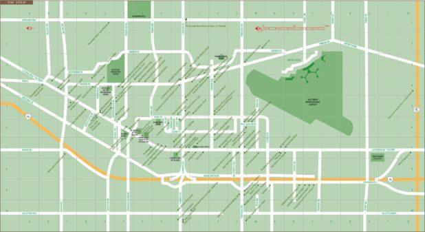 Carte du Strip à Las Vegas