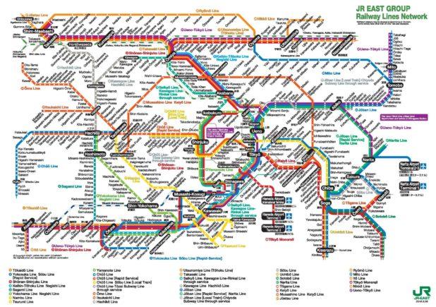 Carte du train à Tokyo