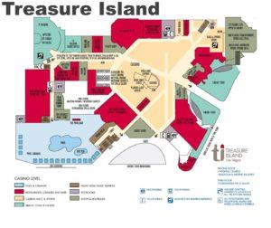 Carte du Treasure Island à Las Vegas