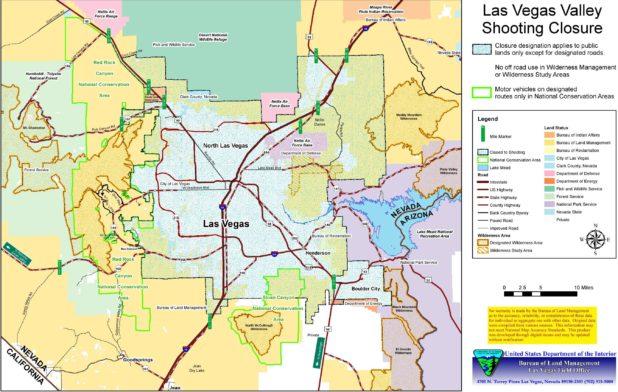 Carte de la vallée de Las Vegas