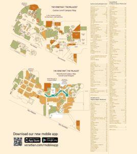 Carte du Venetian Palazzo à Las Vegas