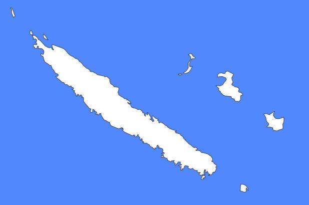 Carte vierge de la Nouvelle-Calédonie