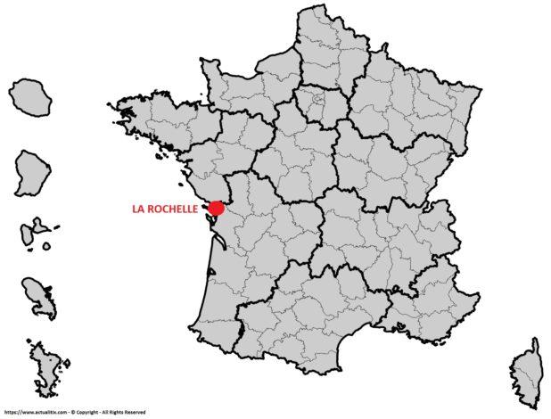 La Rochelle sur une carte de France