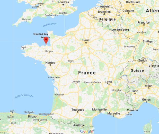 Saint-Malo sur une carte de France