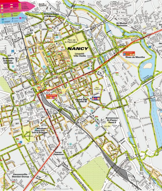 Carte du centre-ville de Nancy