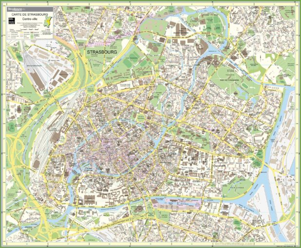 Carte du centre-ville à Strasbourg