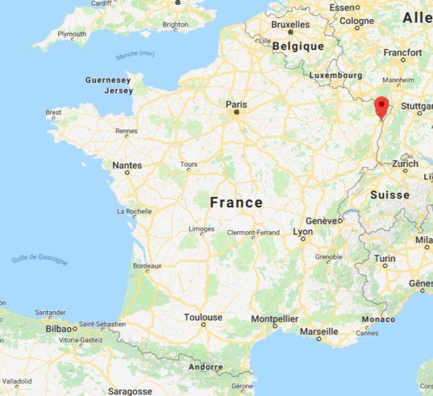 Strasbourg sur une carte de France