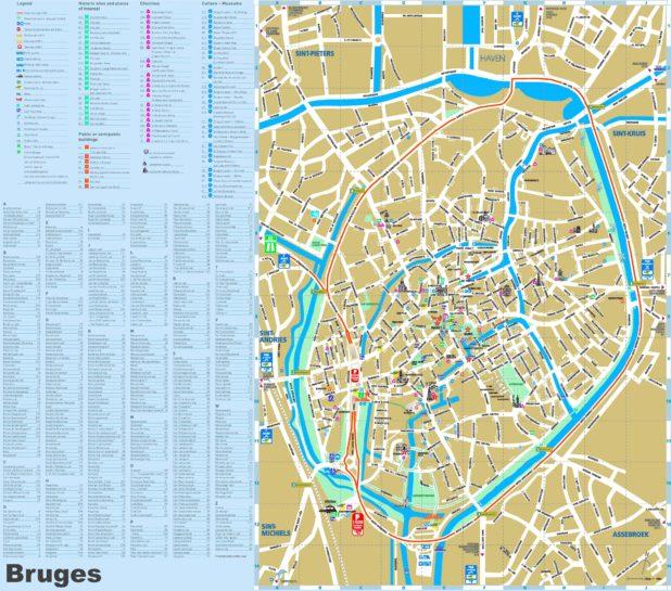 Carte des lieux touristiques à Bruges