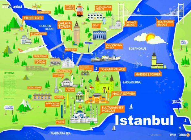 Carte des lieux touristiques à Istanbul