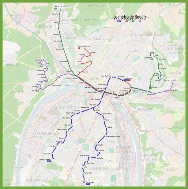 Carte du métro de Rouen