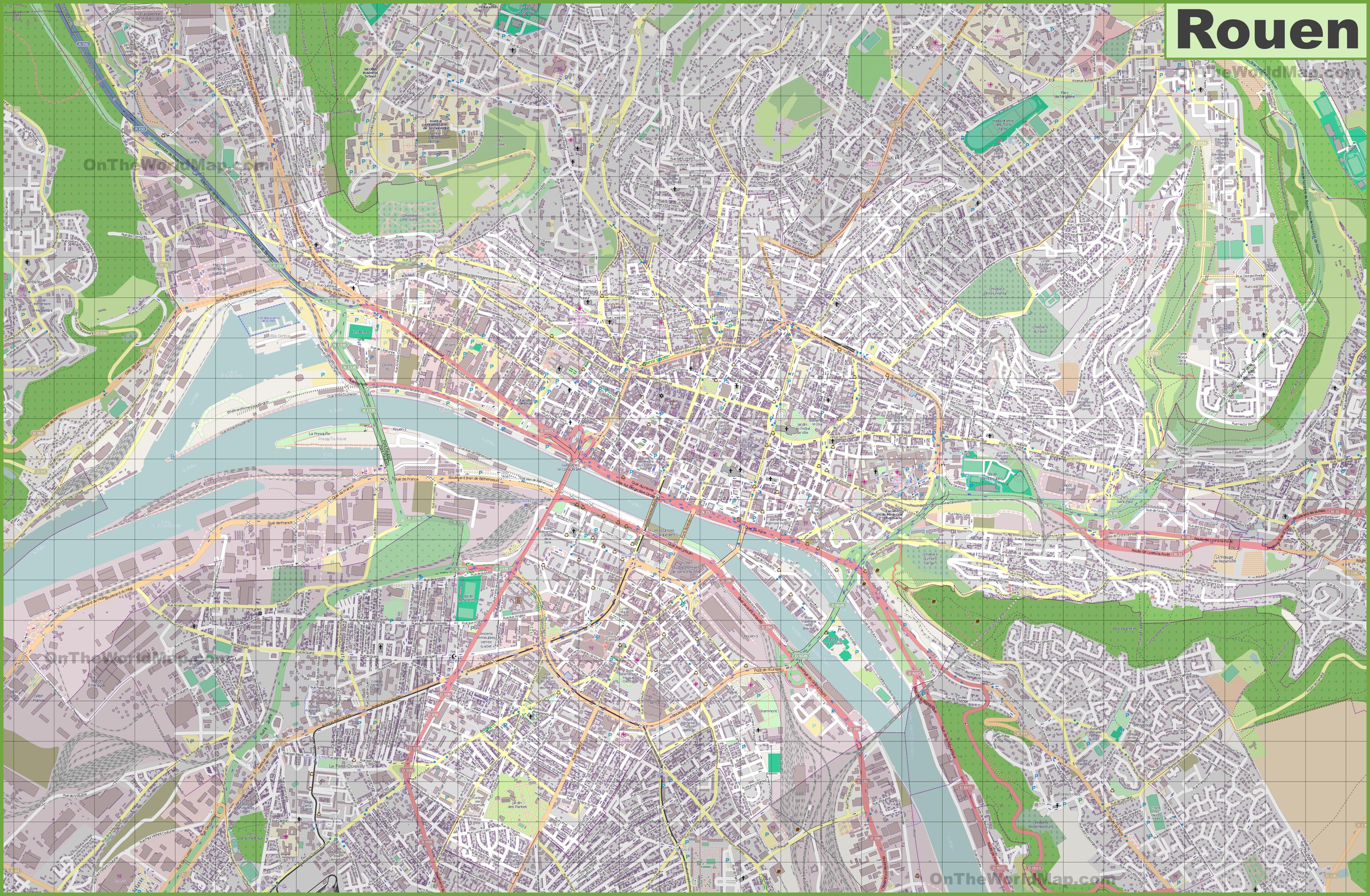 Carte de Rouen - Plusieurs cartes de la ville en Seine ...