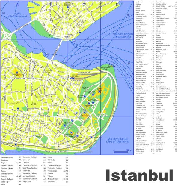 Carte des rues à Istanbul