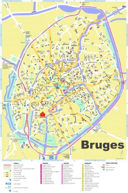Carte touristique de Bruges