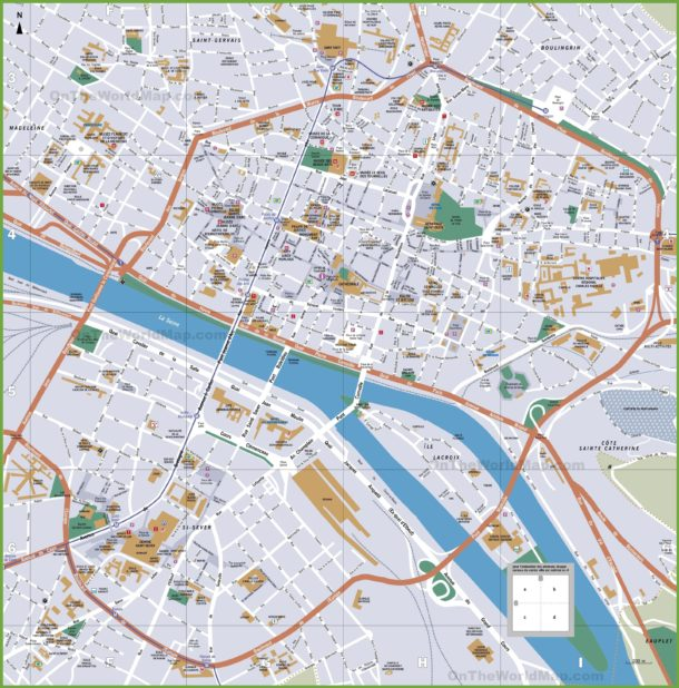 Carte touristique de Rouen