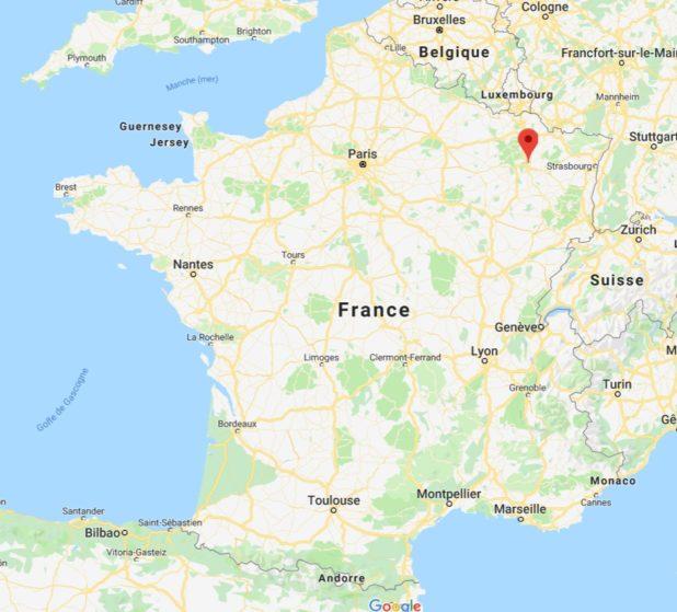 nancy sur une carte de France