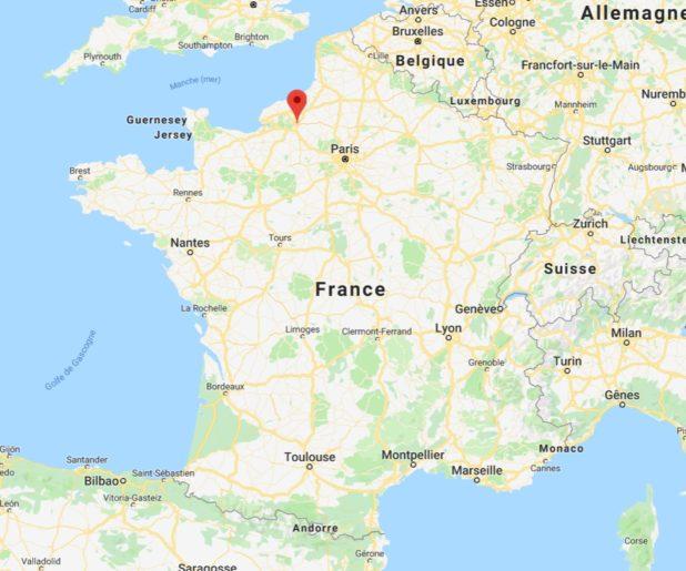 Rouen sur une carte de France