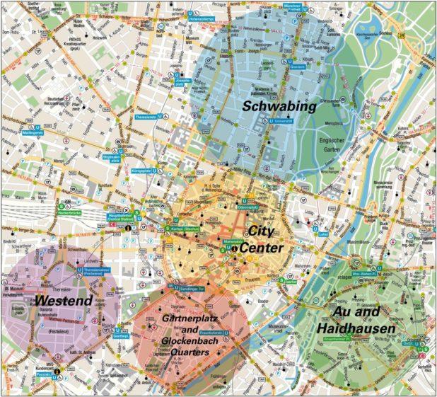 Carte des quartiers de Munich