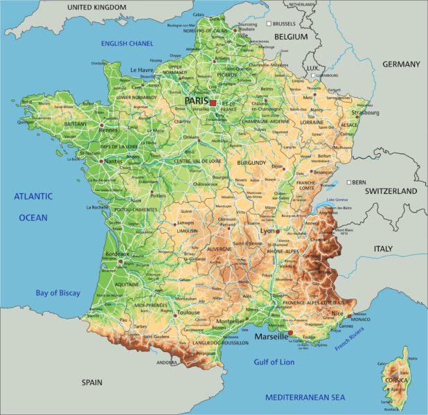 Carte du relief de la France