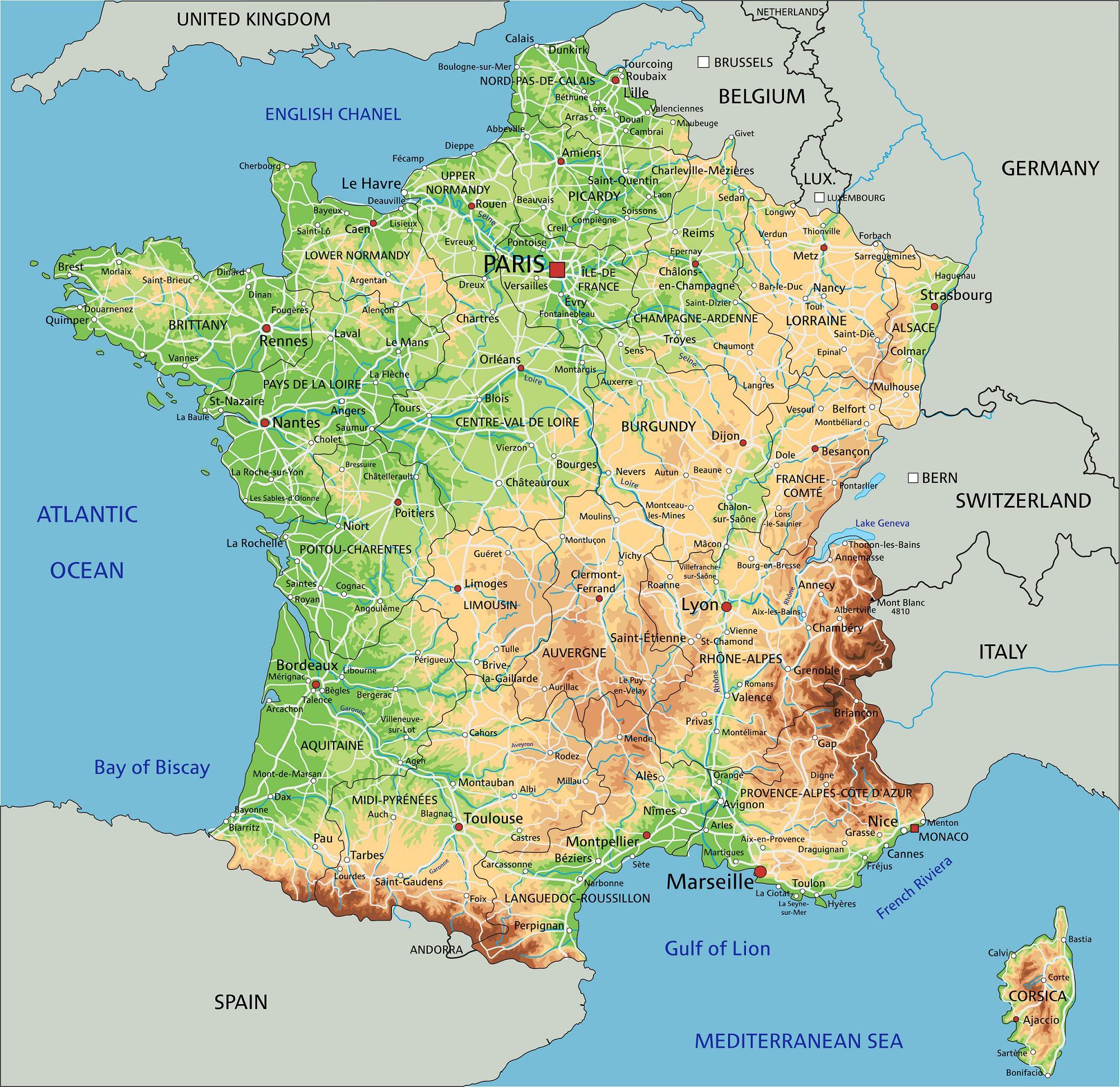 carte des reliefs de france Carte du relief de la France   Carte du relief en France