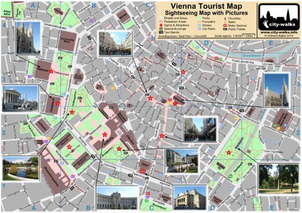 Carte touristique de Vienne en Autriche