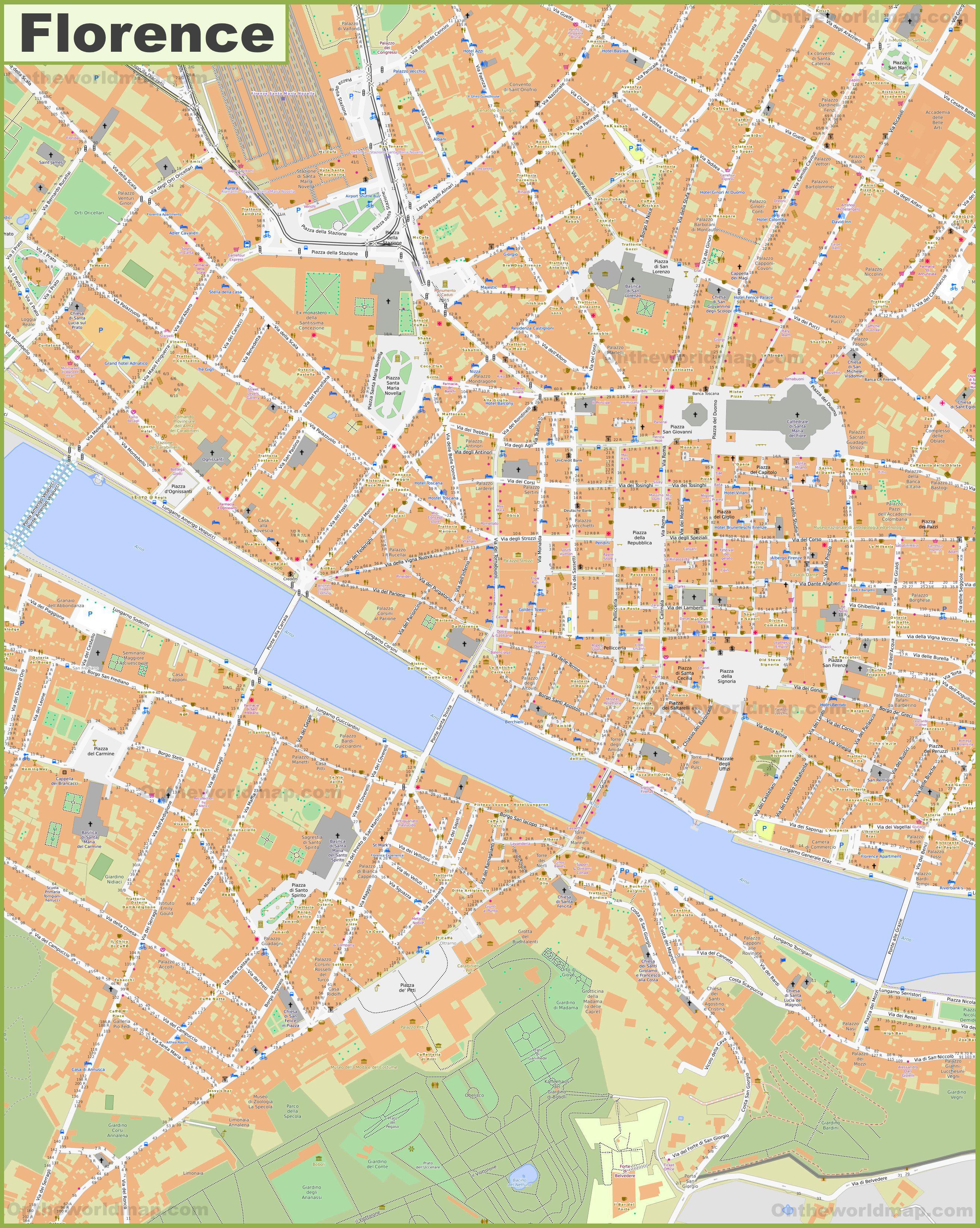 Carte de Florence en Italie - Découvrir plusieurs plans de la ville