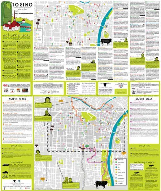 Carte touristique de Turin