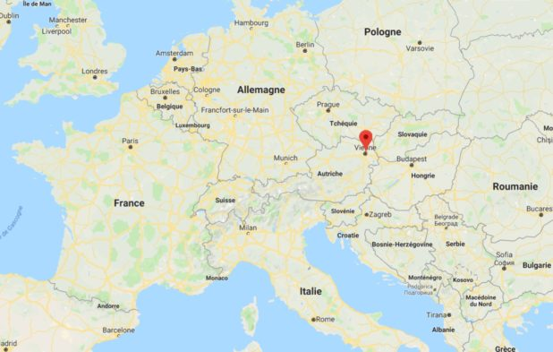 Vienne sur une carte de l'Europe (Autriche)