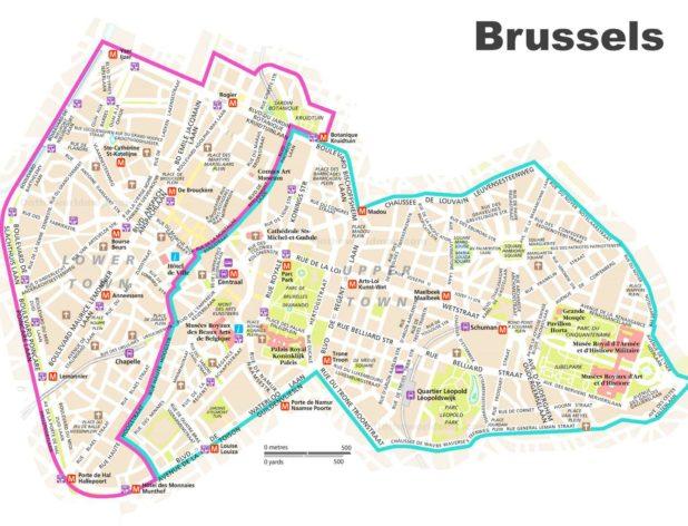 Carte du centre-ville à Bruxelles