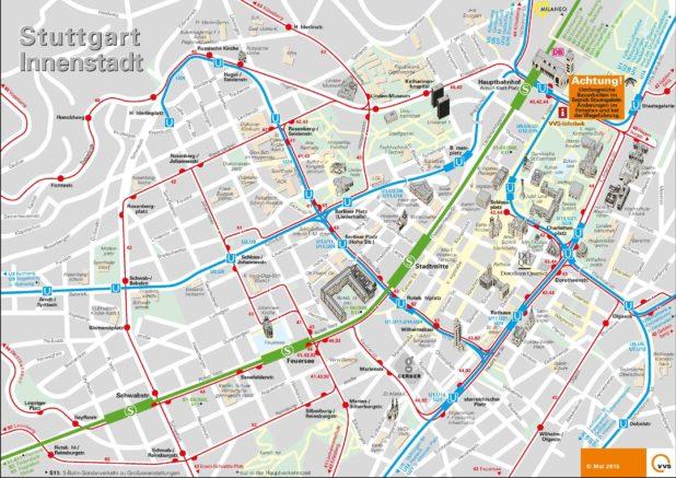 Carte du centre-ville de Stuttgart