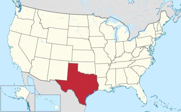 Carte des Etats-Unis avec le Texas