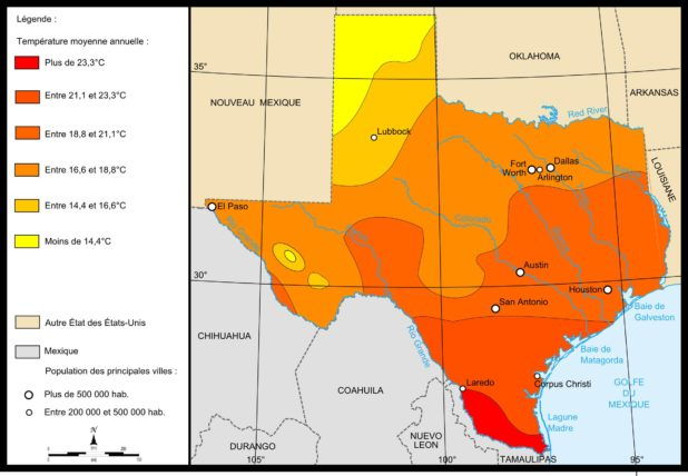 Carte météo du Texas