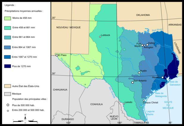 Carte des pluies au Texas