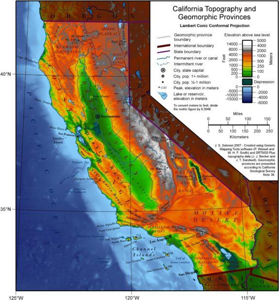Carte du relief en Californie