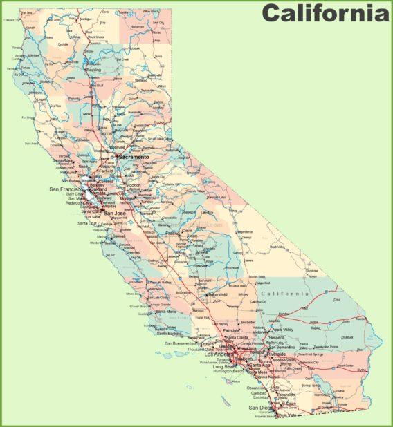 Carte des routes en Californie