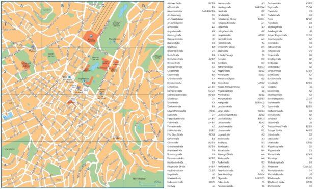 Carte des rues de Stuttgart