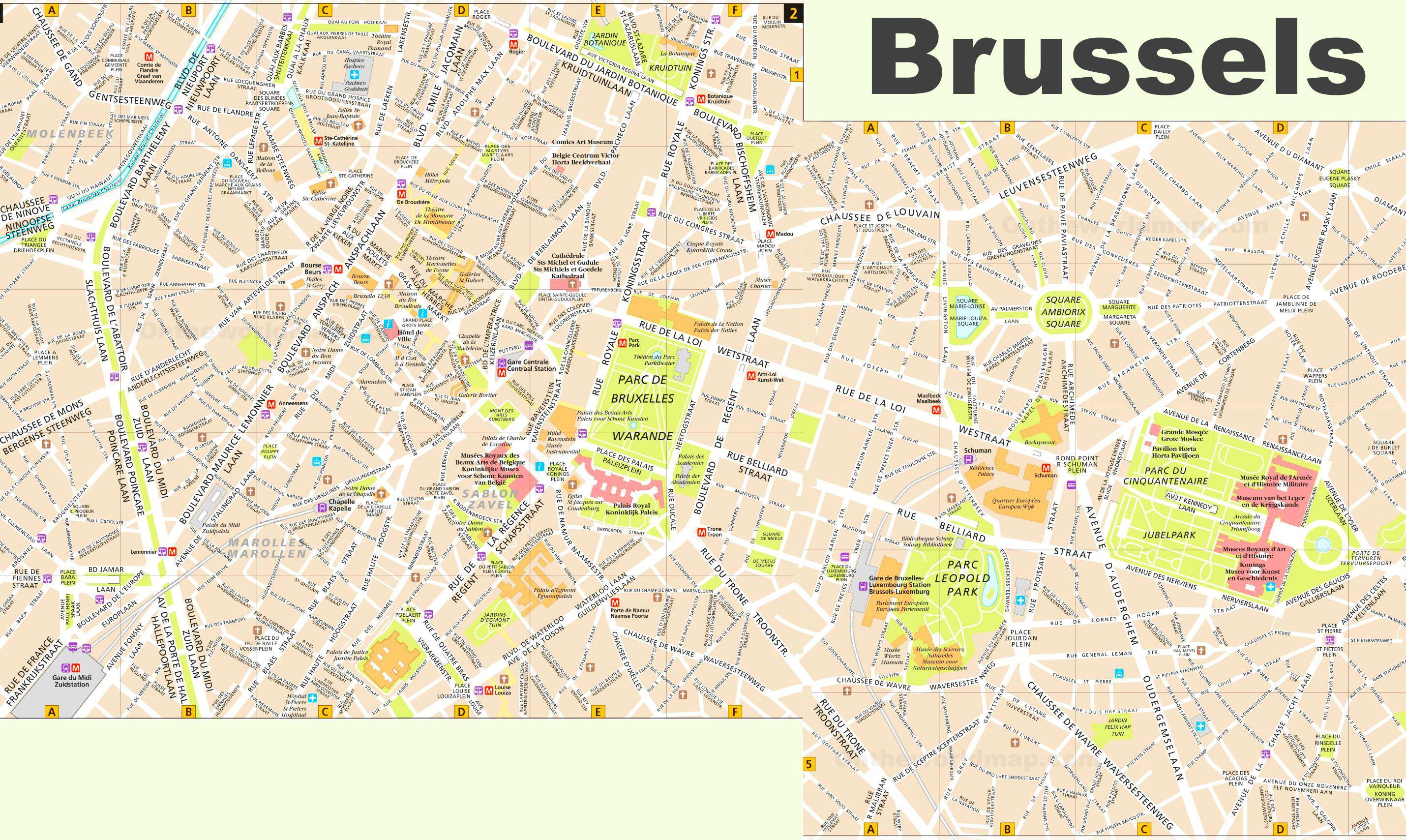 Carte de Bruxelles - Plusieurs cartes de la ville en Belgique