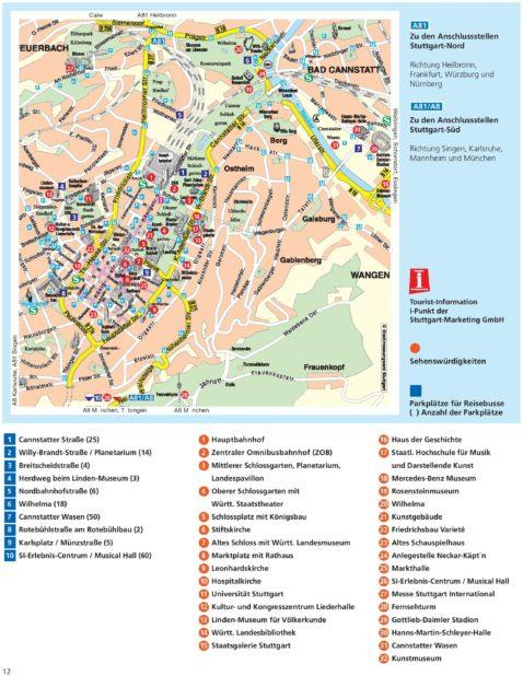 Carte touristique à Stuttgart