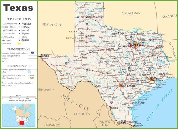 Carte des villes au Texas